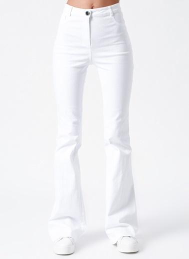 Random İspanyol Paça Pantolon Beyaz